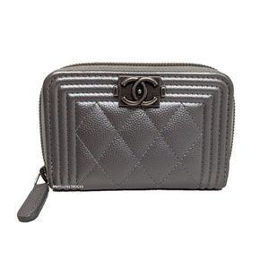 Chanel Boy Grey Small Zip Wallet